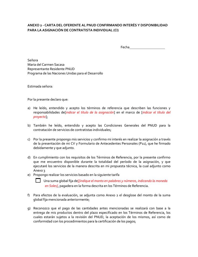 Anexo 2.- Carta del oferente y desglose de costos