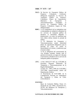 ORD. Nº 5175/347 - Dirección del Trabajo