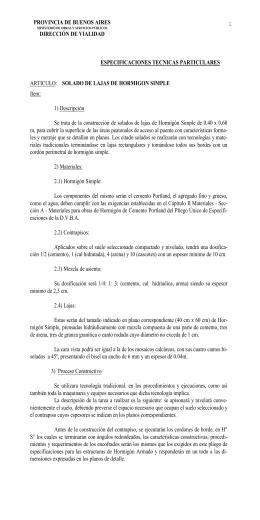 PROVINCIA DE BUENOS AIRES DIRECCIÓN DE VIALIDAD  ESPECIFICACIONES TECNICAS PARTICULARES