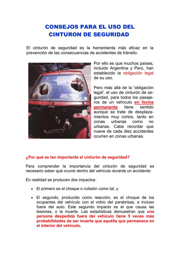 CONSEJOS PARA EL USO DEL CINTURON DE SEGURIDAD El 20c11e252902
