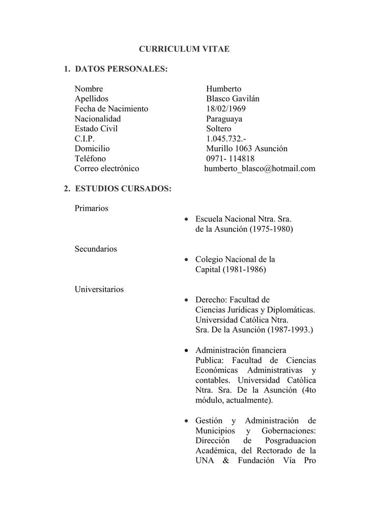 Curriculum Vitae 1 Datos Personales Nombre