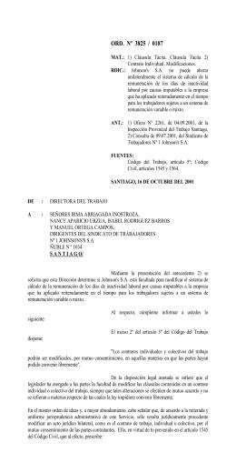 ORD. Nº 3825/187 - Dirección del Trabajo