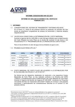 INFORME Nº 023-2015 ANALISIS ECONOMICO DEL
