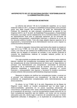 anteproyecto de ley de racionalización y sostenibilidad de la