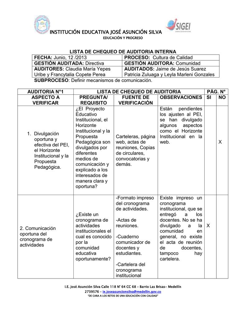 INSTITUCIÓN EDUCATIVA JOSÉ ASUNCIÓN SILVA LISTA DE CHEQUEO DE ...