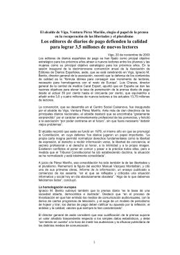 El alcalde de Vigo, Ventura Pérez Mariño, elogia el papel de la prensa