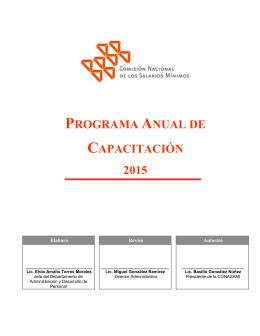 programa anual de - Comisión Nacional de los Salarios Mínimos