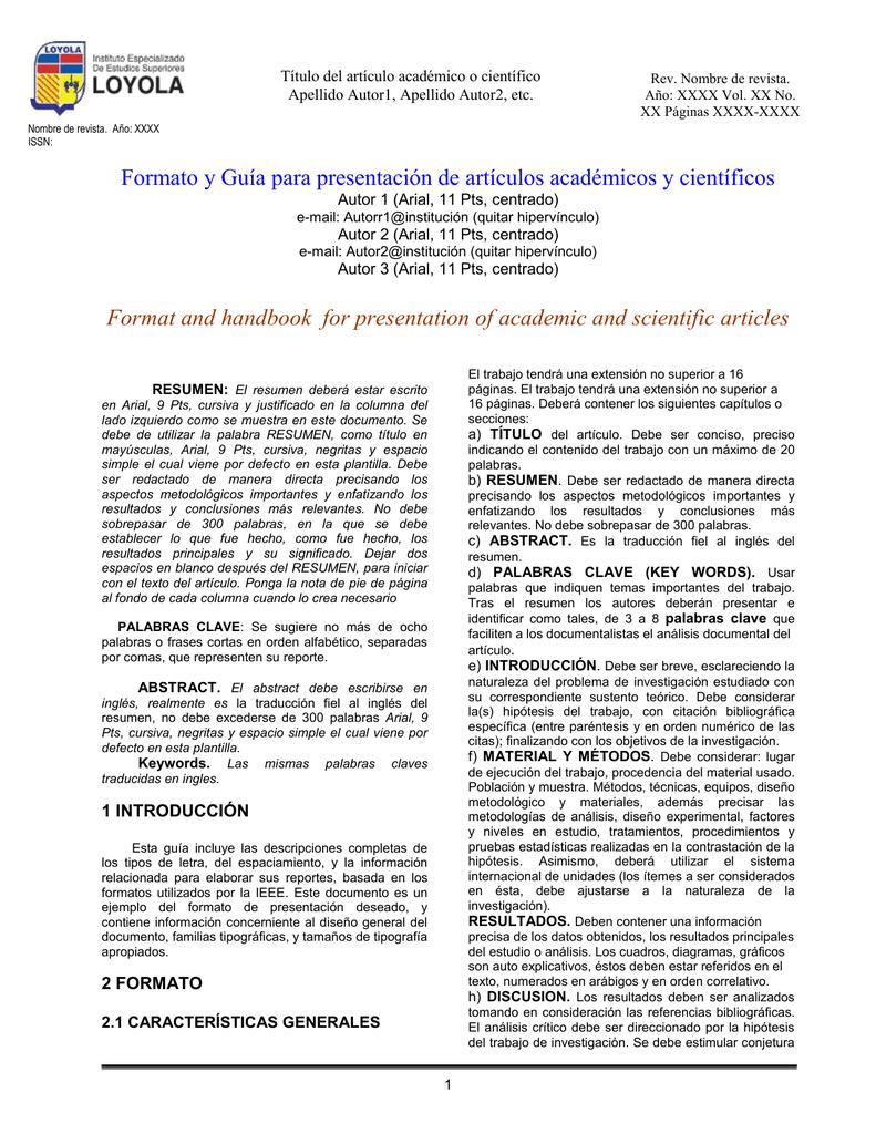 Formato y Guía para la Publicación de artículos