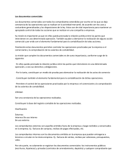 Los documentos comerciales Los documentos comerciales son