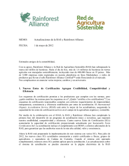 Actualizaciones de la RAS y Rainforest Alliance