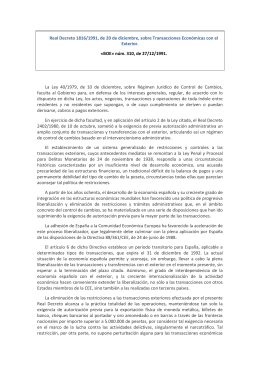 TRANSACCIONES ECONÓMICAS CON EL EXTERIOR. RD