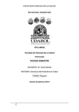 SYLLABUS GERENCIA II-2014 - Udabol Virtual