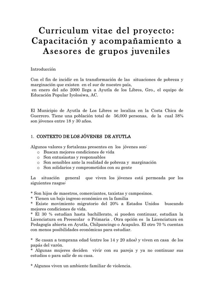 Capacitación y acompañamiento a Asesores de grupos juveniles