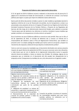Propuestas del Gobierno sobre regeneración democrática El 31 de