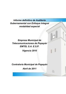 Descargar el informe Informe auditoria Emtel Empresa Municipal de