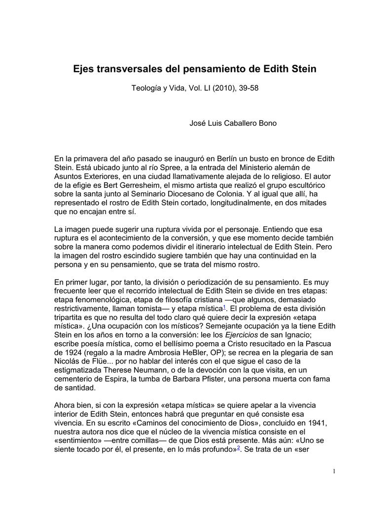 Blog 1 Ejes Transversales Del Pensamiento De Edith Stein J L