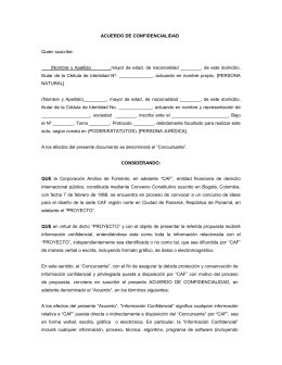 Modelo De Contrato De Confidencialidad Acuerdo De