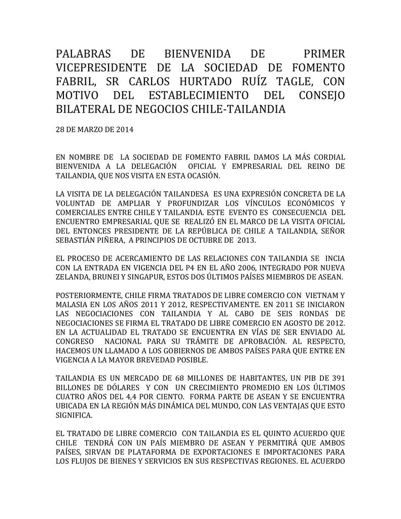 PALABRAS DE BIENVENIDA DE PRIMER VICEPRESIDENTE DE