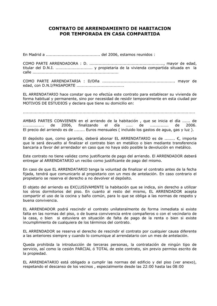 contrato de arrendamiento de habitacion por temporada