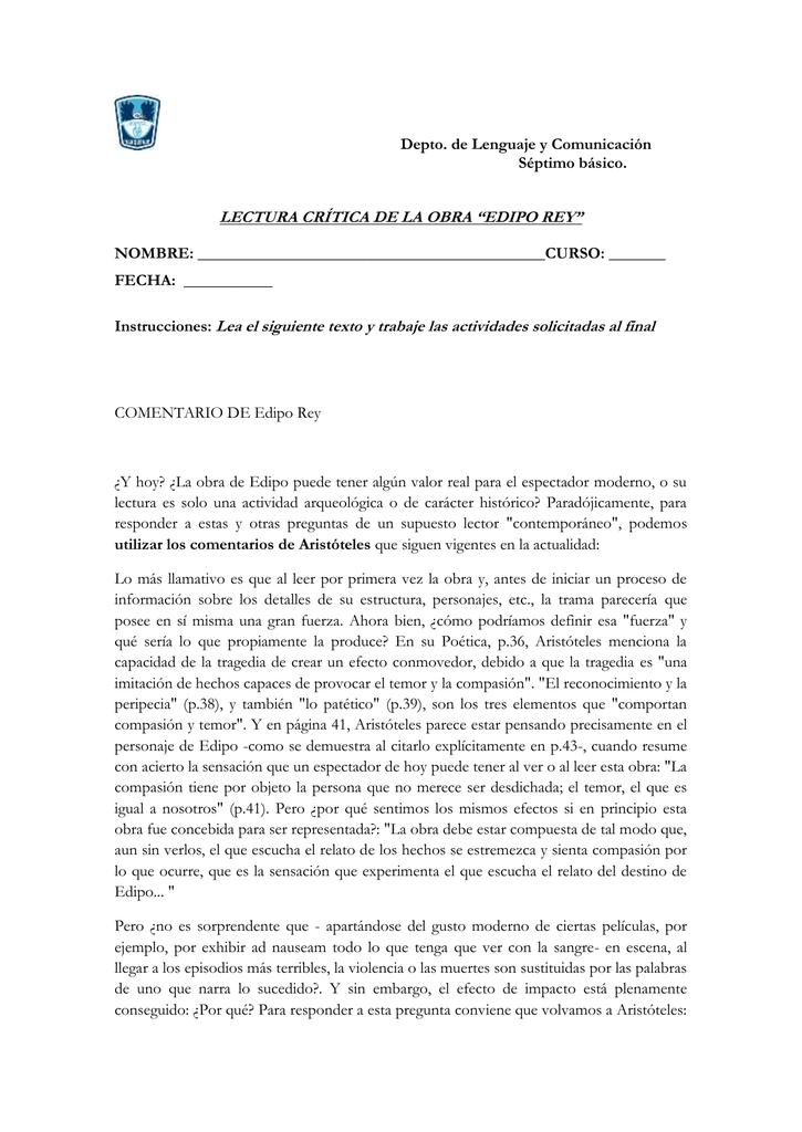 Lectura Critica Y Control De Edipo Rey