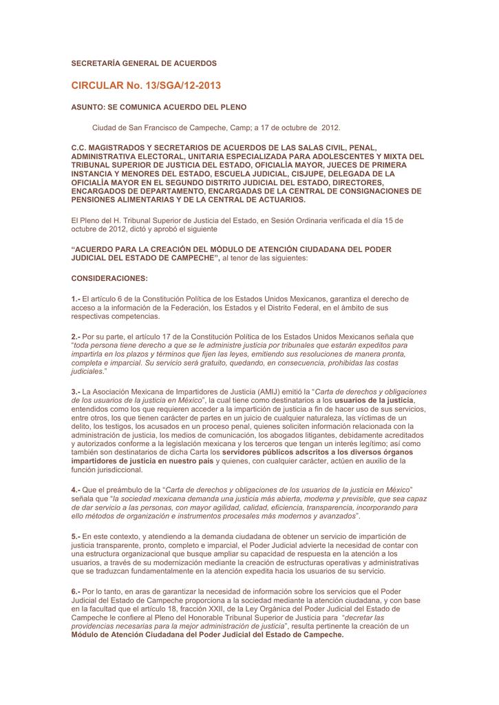 Acuerdo De Creación Del Módulo De Atención Ciudadana