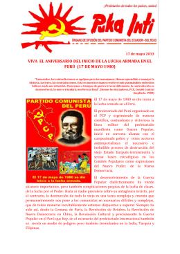 VIVA  EL ANIVERSARIO DEL INICIO DE LA LUCHA ARMADA... PERÚ  (17 DE MAYO 1980) 17 de mayo 2013