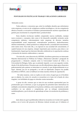 asexma. difusión de la maestria internacional en políticas de trabajo