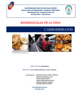 CARBOHIDRATOS BIOMOLECULAS DE LA VIDA