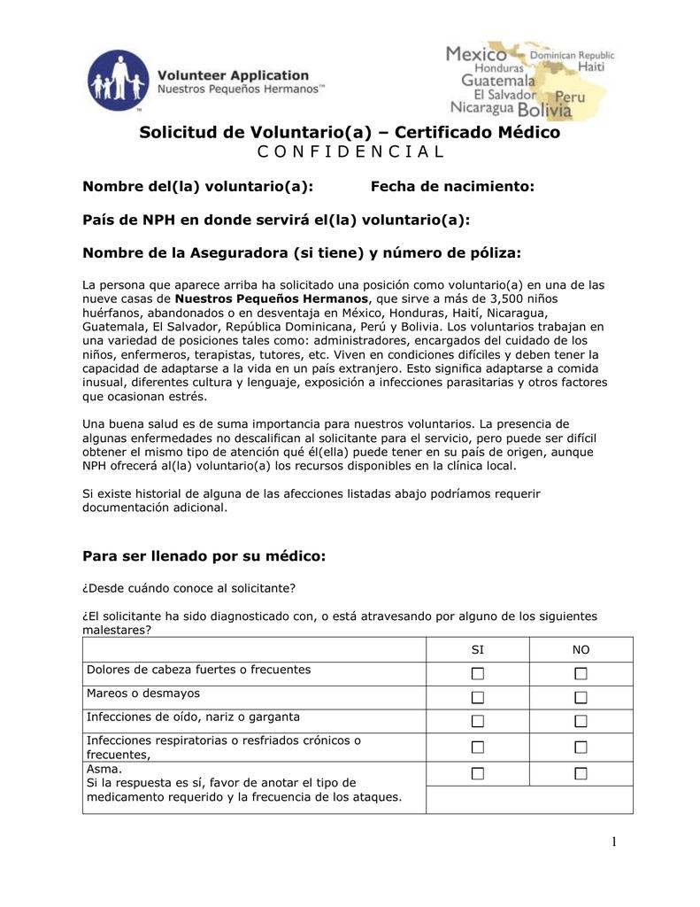 Solicitud de Voluntario(a) – Certificado Médico