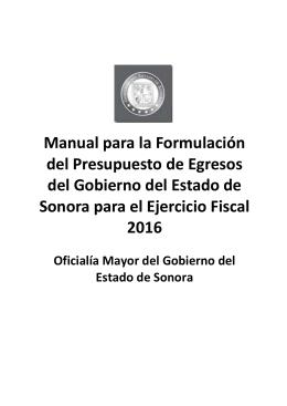 Manual para la Formulación del Presupuesto de Egresos 2016 Parte 1