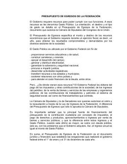 PRESUPUESTO DE EGRESOS DE LA FEDERACIÓN El Gobierno