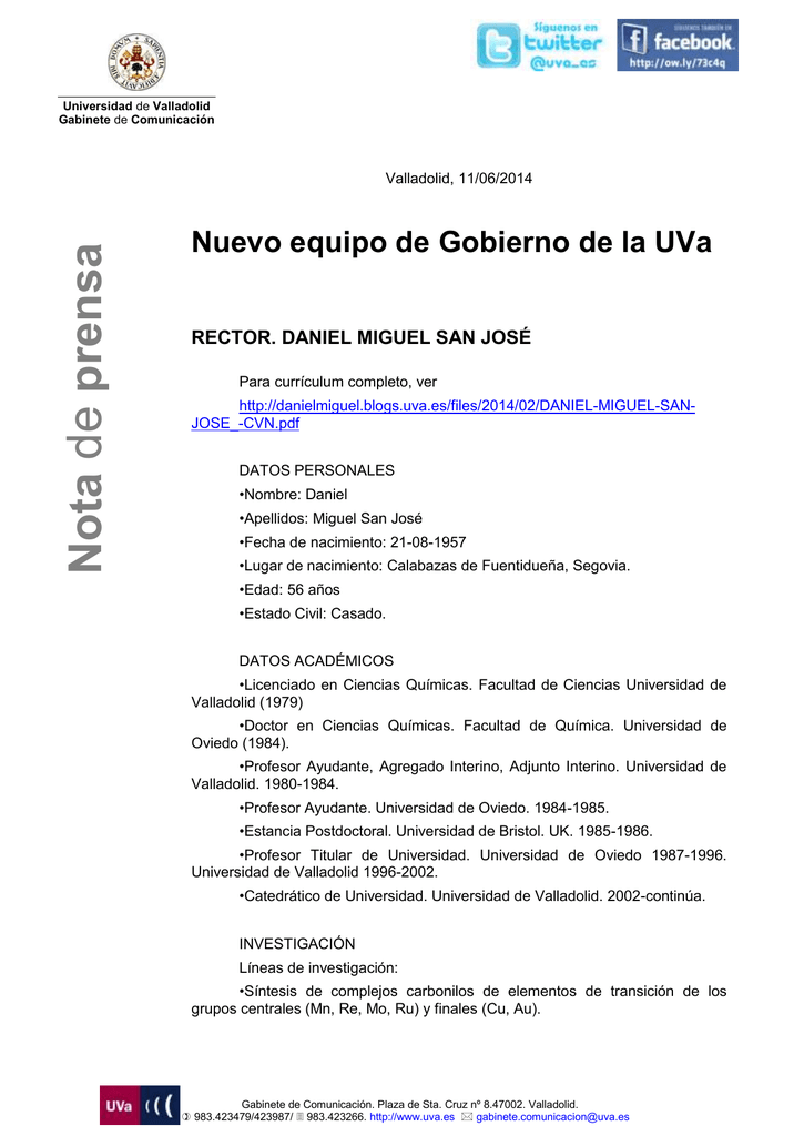 Currículum de los miembros del nuevo equipo de gobierno de la UVa
