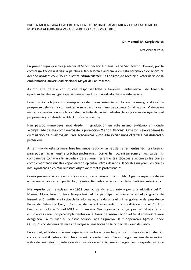 Discurso de orden del Dr. Manuel Carpio Noles