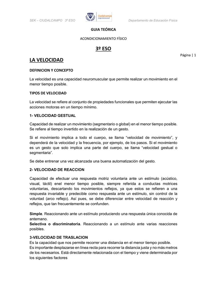 3º ESO LA VELOCIDAD GUIA TEÓRICA DEFINICION Y CONCEPTO