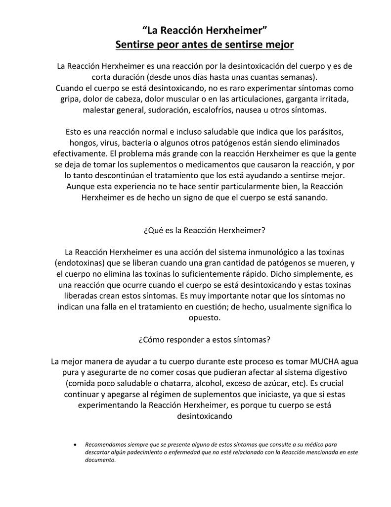 desintoxicación de reacción de herxheimer