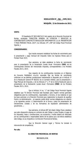 Descargue aquí la resolución Resolución Nº 755/DPR/2013