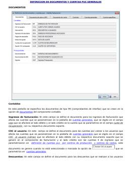 Definición de documentos y cuentas PUC - R-FAST
