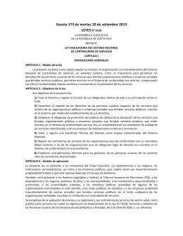 Ley Reguladora del Sistema Nacional de Contralorías de Servicios