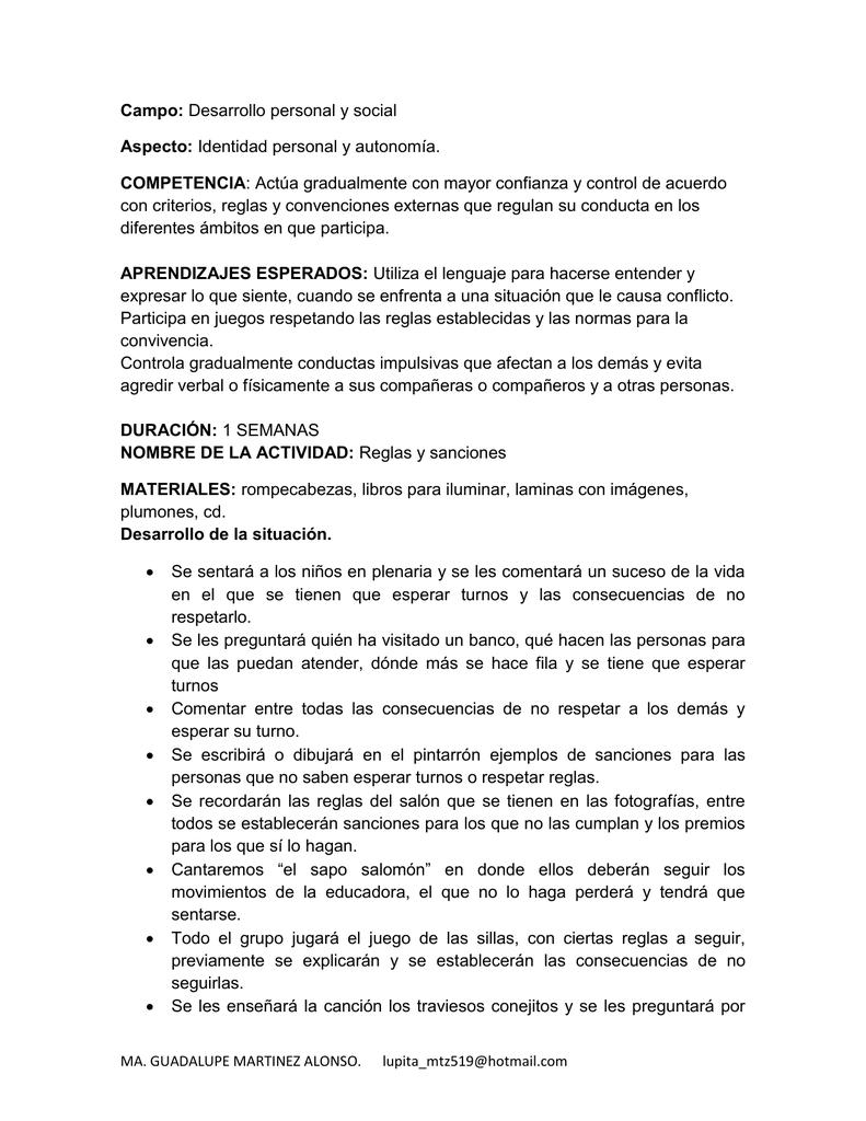 Campo Aspecto Competencia Con Criterios Reglas Y Convenciones
