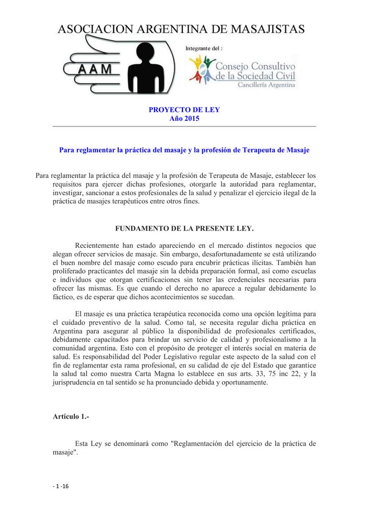 PROYECTO DE LEY - Asociación Argentina de Masajistas