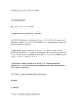 REGLAMENTO DE LA LEY DE CASAS DE CAMBIO ACUERDO
