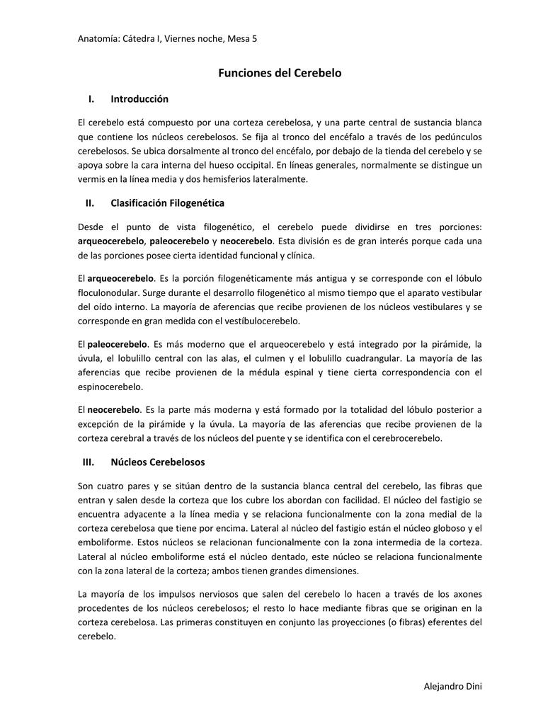 Funciones del Cerebelo I. Introducción