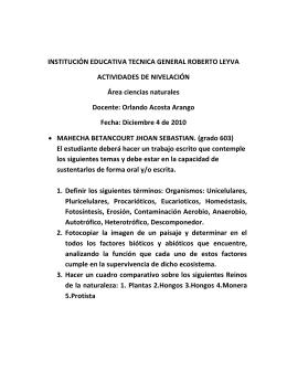 INSTITUCIÓN EDUCATIVA TECNICA GENERAL ROBERTO LEYVA ACTIVIDADES DE NIVELACIÓN Área ciencias naturales