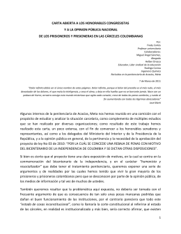 CARTA ABIERTA A LOS HONORABLES CONGRESISTAS Y A LA