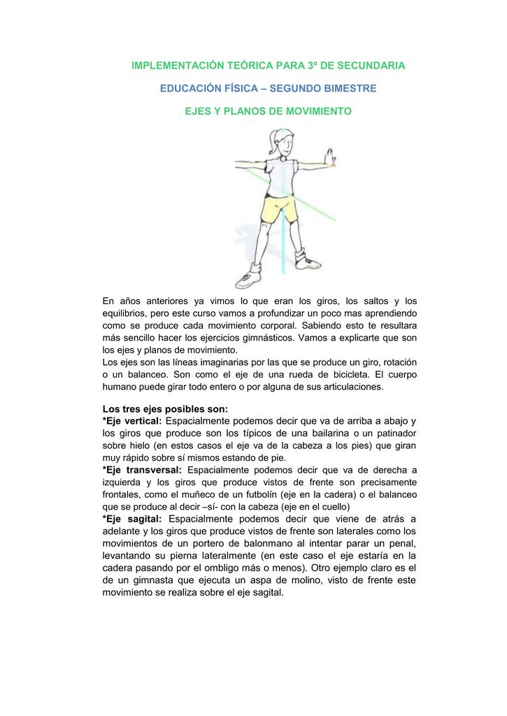 Planos y ejes de movimiento educacion fisica