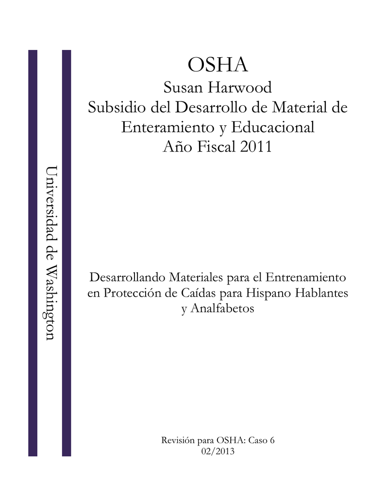 OSHA Susan Harwood Subsidio del Desarrollo de Material de ...