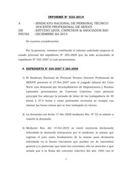 INFORME N° 032-2014 A : SINDICATO NACIONAL DE PERSONAL TÉCNICO