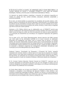 El día de hoy se firmó un acuerdo de colaboración entre el Centro