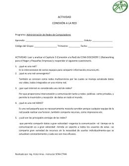 ACTIVIDAD CONEXIÓN A LA RED Programa: Administración de