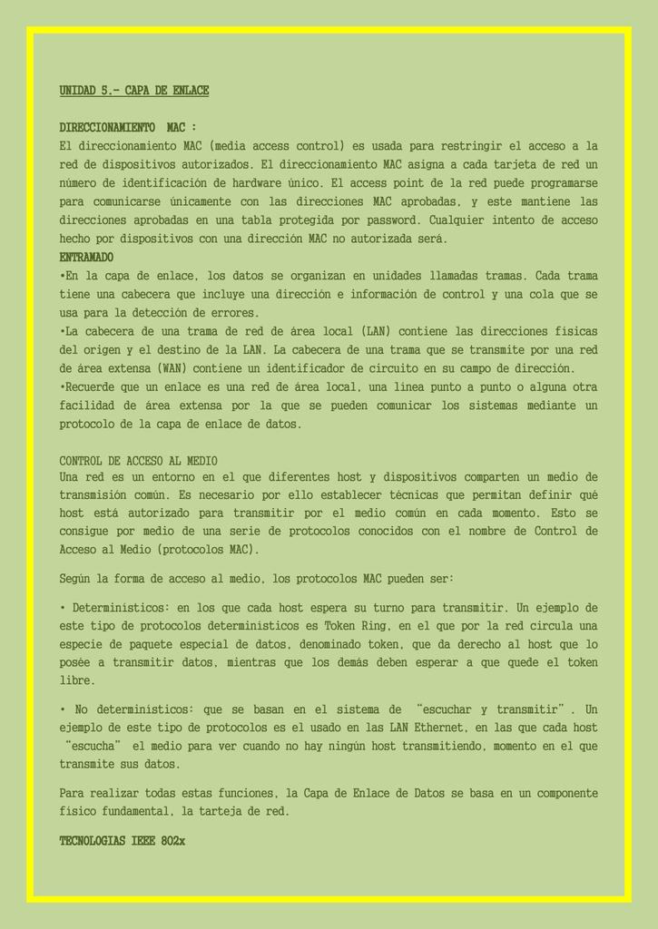 UNIDAD 5.- CAPA DE ENLACE DIRECCIONAMIENTO MAC : El